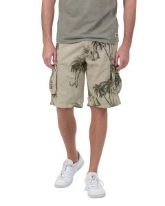 Bermuda Homme GMB Cargo all-over palmiers beige