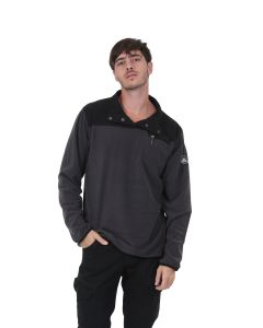 Sweat polaire bicolore col montant Homme Taupe/Noir