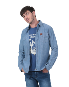 Chemise manches longues Homme Chambray bleu