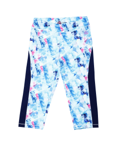 "Light turquoise all-over girl cropped leggings ""Florida Beach"""