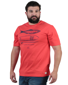 Red men's short-sleeved t-shirt Sized printed