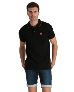 Plain black men's polo shirt