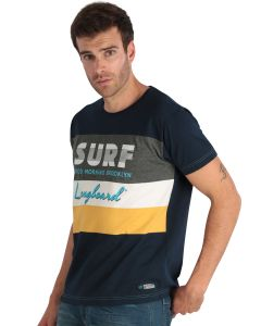 Blue Men's short-sleeved T-shirt with stripes and print