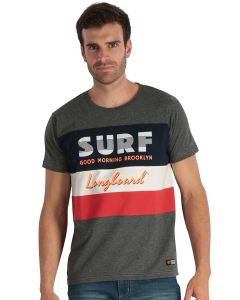 Grey Men's short-sleeved T-shirt with stripes and print
