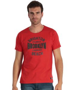 Red men's short-sleeved t-shirt with embroidery