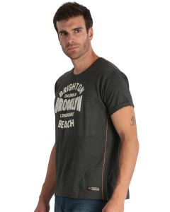 Grey men's short-sleeved t-shirt with embroidery