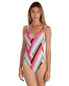Pink women Swimsuit 1 piece geometric striped pattern