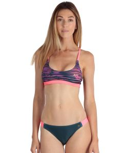 Neon coral women's sport 2-piece swimsuit