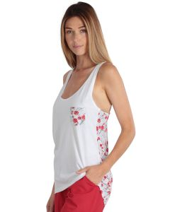 "White and Flowered Women Tank Top ""Japan"""