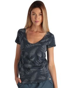 Blue women's short-sleeved t-shirt with foliage print