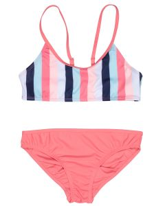 Two-piece girl's bi-color swimsuit Biarritz coral