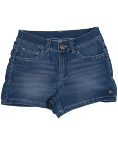Short fille denim longboard bleu marine vu de face