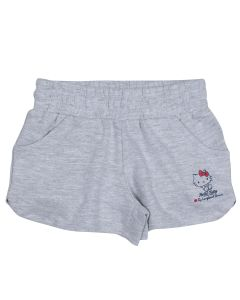 Short uni fillette Hello Kitty gris chiné