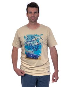 T-shirt Homme manches courtes Wellness beach beige chiné